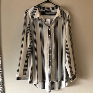 Plus Size Black and White Blouse